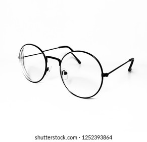 Old school eyeglasses model isolated white background