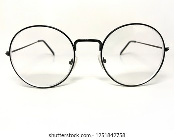 The old school eyeglasses model looks from the front