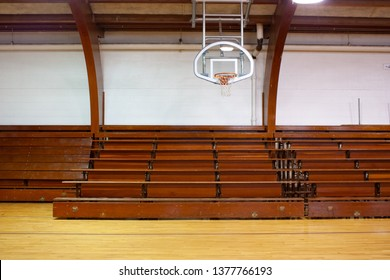 Old school gym and bleacher.