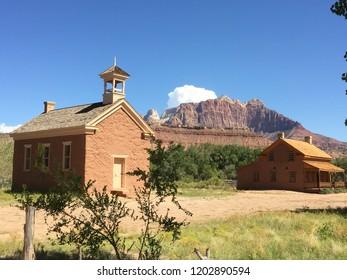 Old school house and homestead in the American West. Grafton ghost town near Springdale, Utah. Movie set.