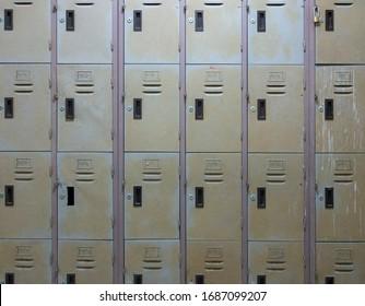 Old school locker is closed.