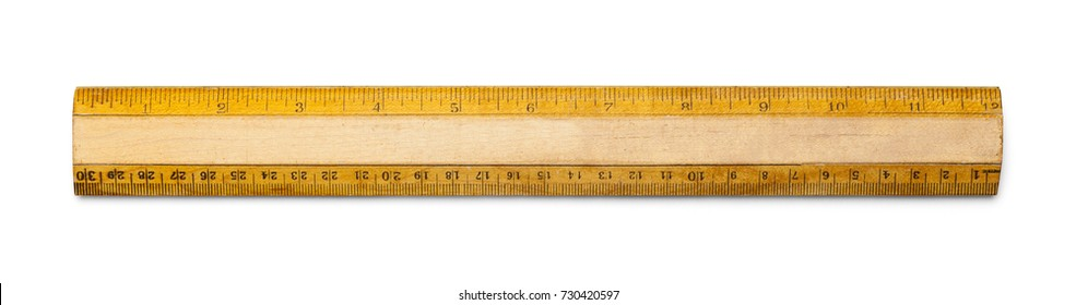 Old School Ruler with Inches and Centimeters Isolated on a White Background.
