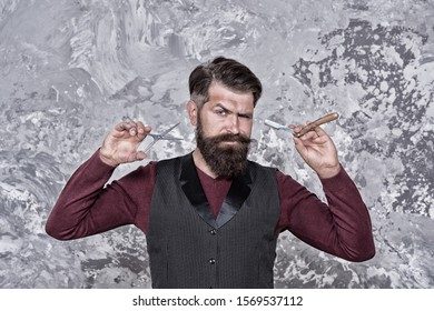 Old school and vintage. Facial hair care. Hiring barber. Barber equipment. Barber salon. Man bearded hipster with long beard and mustache. Well groomed hipster. Barbershop concept. Experienced barber.
