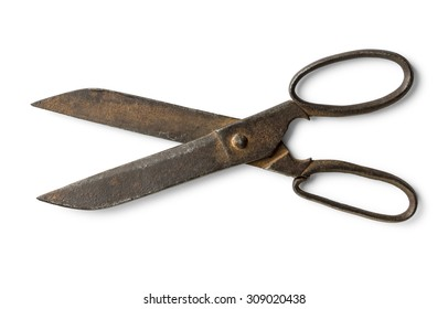 Old scissors with path