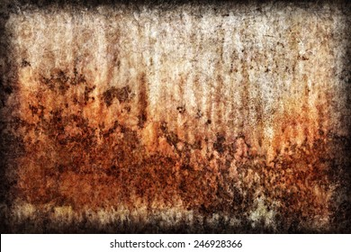 Old, scrapped, badly corroded river raft hut floater metal surface, covered with cracked decomposed layers of paint and rust vignette texture.