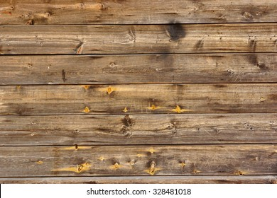Old Scratched Brown Empty Wood Panel Horizontal Texture Background Close-up