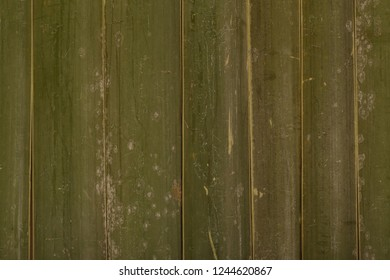 Old scratched green yellow bamboo fence background