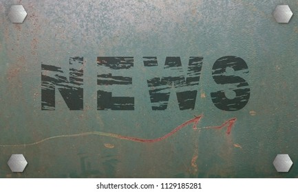 old, scratched sign with the text News. 3d rendering