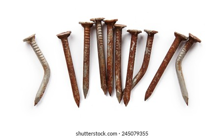 Old screws isolated on white background