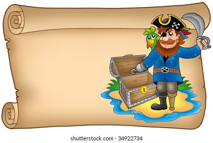 Old scroll with pirate - color illustration.