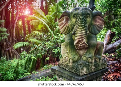 Old sculpture of the elephant in Monkey Forest Sanctuary in Ubud, Bali, Indonesia.