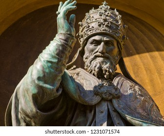 An old sculpture of Pope Gregory XIII in Bologna, Italy. He was pope of the Catholic Church from 13 May 1572 to his death in 1585. He is best known for commissioning  the Gregorian Calendar.