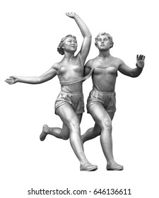 Old sculpture of women runners isolated on white with clipping path