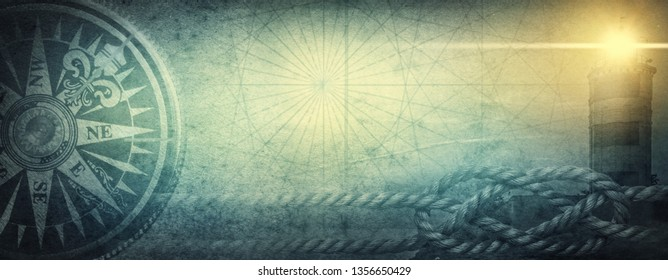 Old sea compass, lighthouse and sea knot on abstract map background. Pirate, explorer, travel and nautical theme grunge background. Retro style.