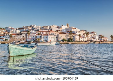 Old sea town of Ferragudo. With the boat in the foreground.