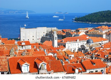 The old seaside town. Red roofs and the Citadel