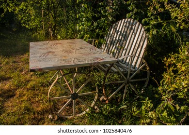 old seat and table garnish in the garden