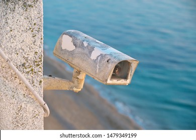 Old security cctv camera. Element of design.