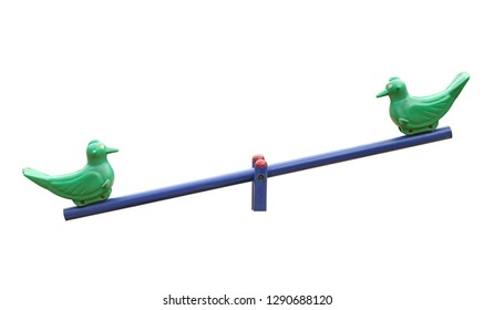 Old seesaw (with clipping path) isolated on white background