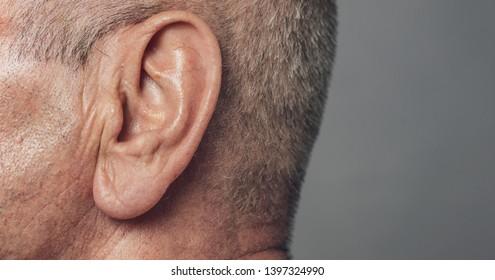 old senior man ear close-up macro shot