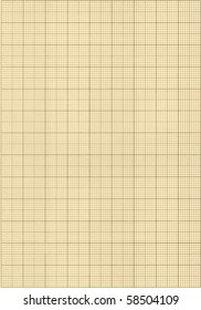 Old sepia graph paper square grid background.