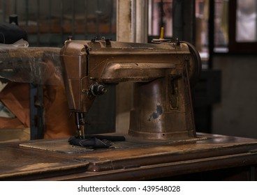 Old sewing machine in retro style