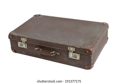 old shabby brown suitcase with angle bars