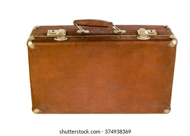 Old shabby brown suitcase with angle bars. Retro suitcase. Vintage baggage. Vintage travel bag.