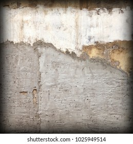 Old Shabby Concrete Grunge Wall With Peeled Plaster And Graffiti Frame Background Or Square Texture. Spotted, Scratched And Rough Building Facade With Grafiti. Abstract Vintage Surface For Design