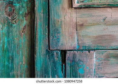 Old Shabby Door Background Blue Paint Wooden Vintage