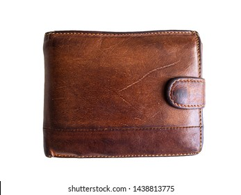 Old shabby and scratched wallet. Wallet brown on white background. Men's wallet