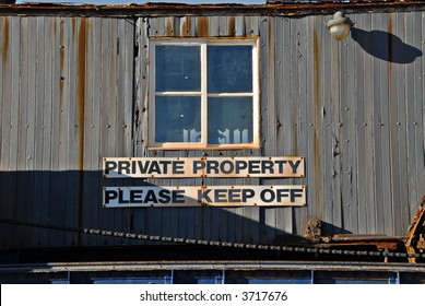 Old shack marked Private Property Please Keep Off