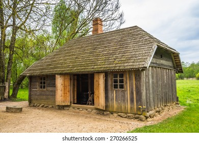 Old shed house in the countryside. Lithuania.
