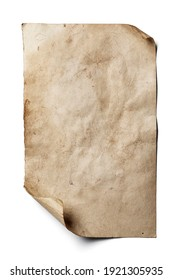 Old sheet of paper with curled edges isolated on white