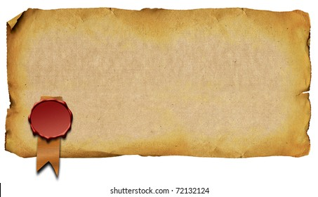 Old sheet of paper with the sealing wax press