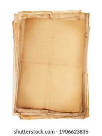 Old sheets stacked isolated on white background