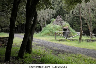old shelter of shepherd or charcoal burners shaped like a cone in Etna Park, Sicily