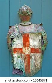 Old shield and knight suit in Tallinn, Estonia
