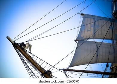 Old ship bow and sail