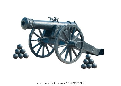 Old ship gun isolated on a white background.