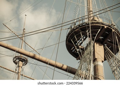 old ship nests and masts, retro style