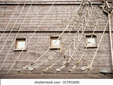 Old ship. Ship ropes.