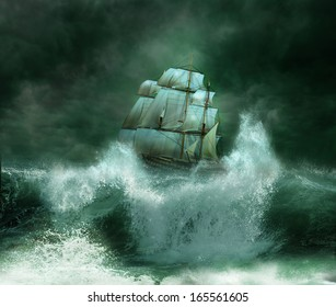 Old ship sailing in the marine thunderstorm