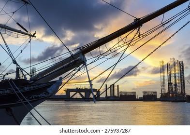 Old Ship At Sunset Harbor - Galveston, TX