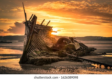 Old ship wreck called Bad Eddie.  This was taken at low tide at sunset in Donegal Ireland