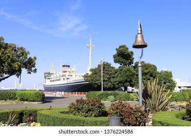 Old ship's bell in Yamashita park, Yokohama, Japan