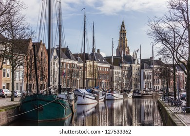 Old ships and warehouses in the center of Groningen, the Netherlands.