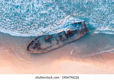 old shipwreck in Habonim beach in Israel