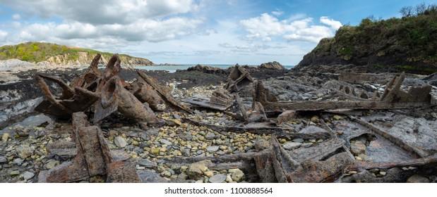 Old shipwreck  at Polridmouth Bay, Near Fowey, Cornwall, UK