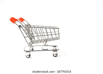 Old shopping cart on white background